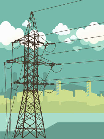 High-voltage tower silhouette on the urban background Illustration