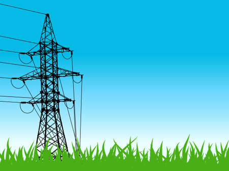 High-voltage tower silhouette on field background