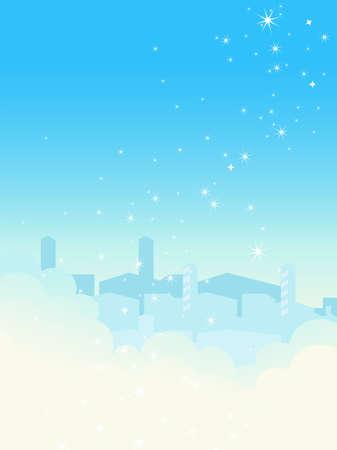 espejismo: Paisaje urbano de cielo azul brillante. Ilustraci�n vectorial. Vectores