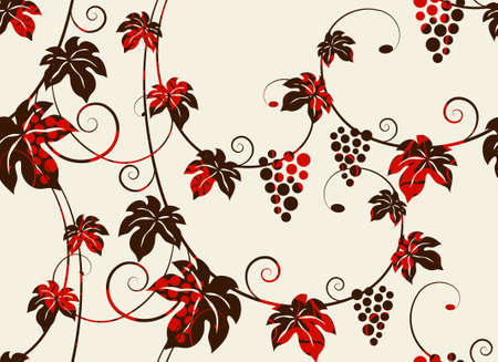 Seamless grape vines background. Vector illustration. Illustration