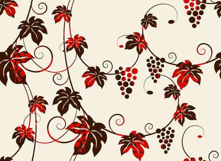 Seamless grape vines background. Vector illustration. Illustration