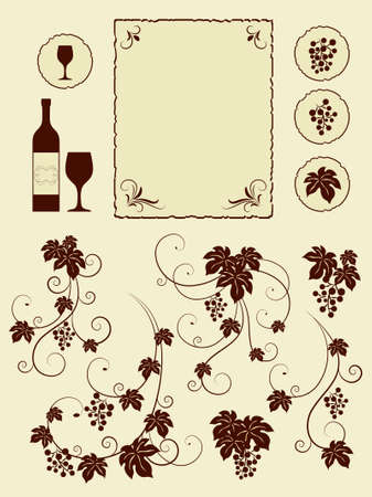 grapes on vine: Grape vines and winery object silhouettes. Vector illustration.
