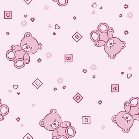 Teddy bears seamless background. Vector illustration.