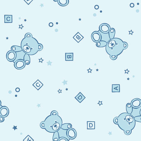 child s: Teddy bears seamless background. Vector illustration.
