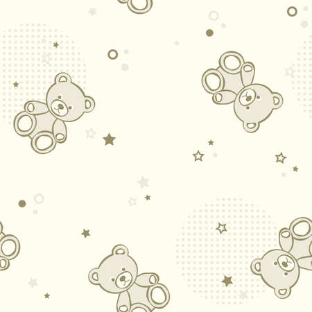 child s: Teddy bears seamless background. illustration.