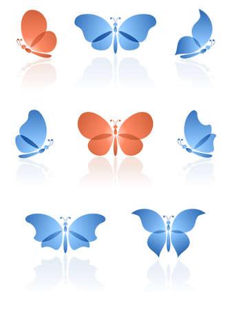 wings logos: Butterflies logos ser. illustration. Illustration