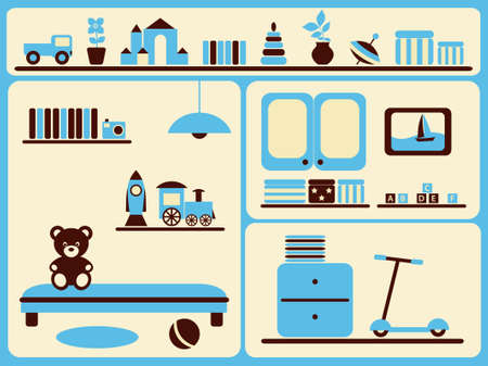 Childrens room interior and objects set. Vector illustration.