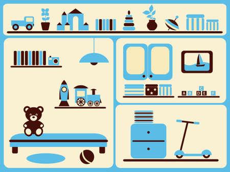 Children's room interior and objects set. Vector illustration. Illustration