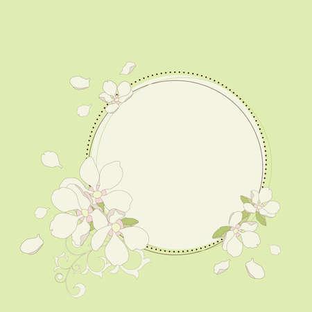 season: Apple flowers frame. Vector illustration.