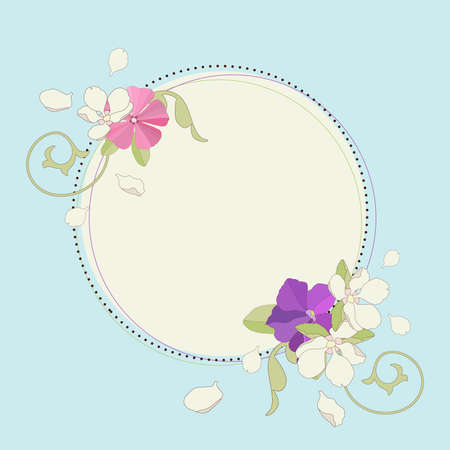 petunia: Spring flowers frame. Vector illustration.