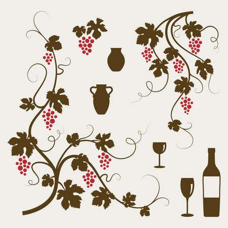 Grape vines, wineglasses and decorative elements set.