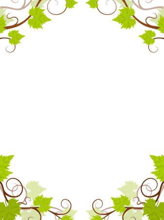 Grape vines frame. Vector illustration. Stock Vector - 9398834