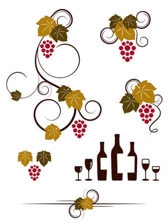 Grape vines, wineglasses and decorative elements set. Vector