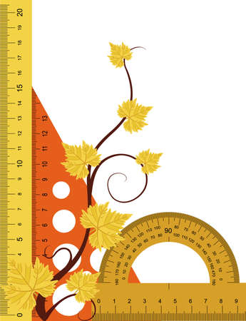 protractor:  Ruler, protractor and triangle with simulated transparency.
