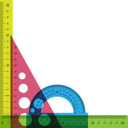 Ruler, protractor and triangle with simulated transparency. Does not contain any transparent elements.  Vector