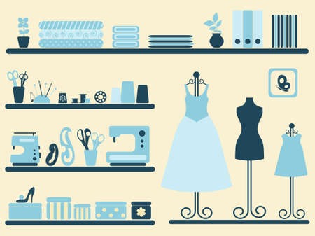 sewing box: Sewing room interior and objects set. Vector illustration.