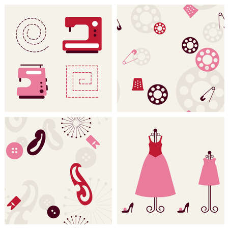 garments: Sewing seamless backgrounds and objects set. Vector illustration.