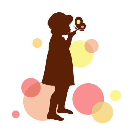 Girl silhouette with butterfly. Vector illustration.