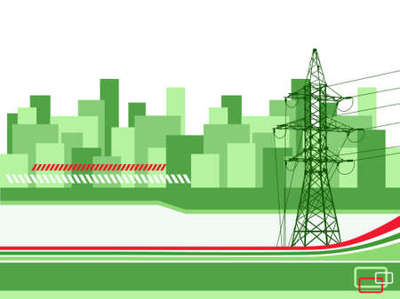 Hight-voltage tower on the abstract urban background. Vector illustration. Illustration