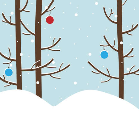 bank branch: Winter forest with snow-covered trees and new year`s celebration balls. Vector illustration.