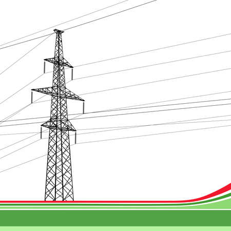 transmission line: High-voltage tower background. Vector illustration.