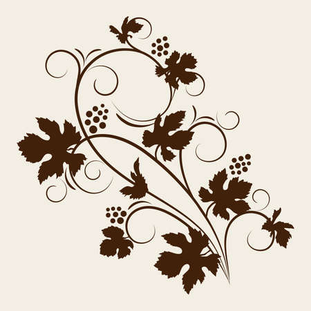 Grape vine silhouette illustration.  Stock Illustration - 9477579