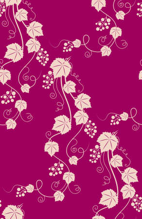 Grapevines seamless pink background. Vector illustration.  illustration