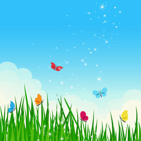 Beautiful shiny summer meadow with colorful butterflies. Stock Vector - 9816135