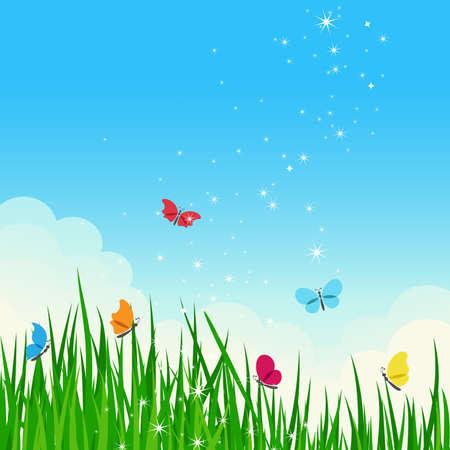 ciel rouge: Pr� bel �t� brillant avec papillons color�s.