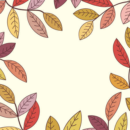 Autumn leaves frame. Vector illustration. Stock Vector - 9930072