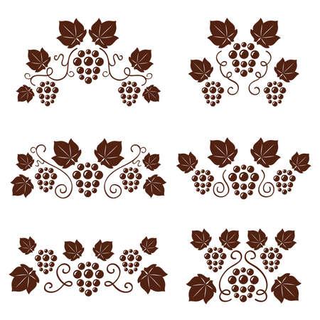 Grape vines ornates set. Vector illustration. Stock Vector - 9930075