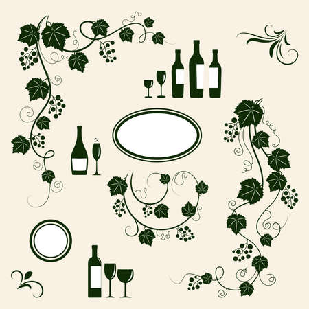 Winery design object silhouettes. Vector illustration.  Illustration