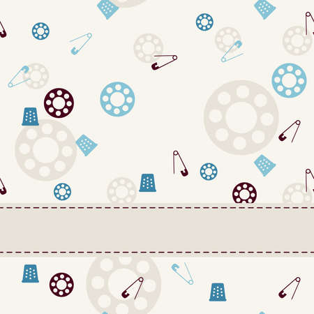 tile able: Sewing seamless background and objects set with frame box. Vector illustration.