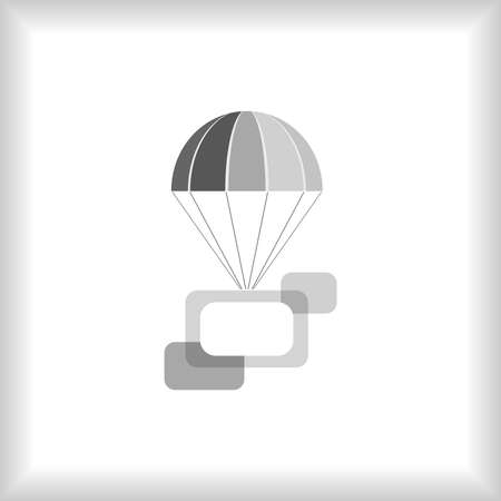 Grayscale flying parachute with frames composition. Vector illustration. Stock Vector - 12348910