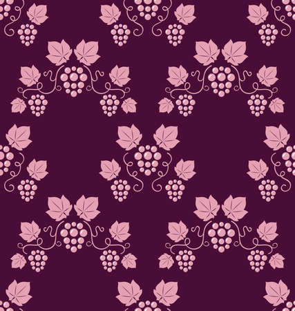 Grapevines seamless pink background  Vector illustration   Vector