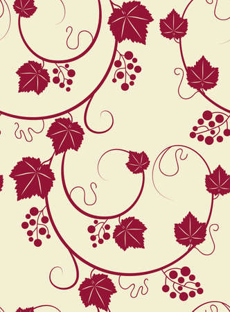 Grapevines seamless yellow background  Vector illustration  Vector