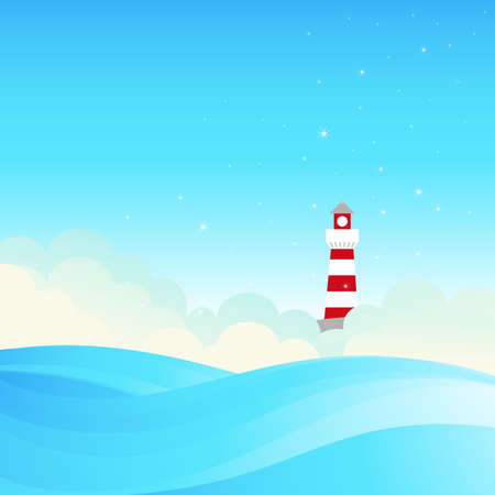 dream land: Lighthouse on the sea fairy shore  Vector illustration