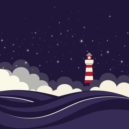 sea stars: Lighthouse in night sea  Vector illustration  Illustration