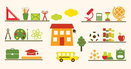 edificio escuela: Objetos multicolores escolar establecido. Vector ilustraci�n. Vectores