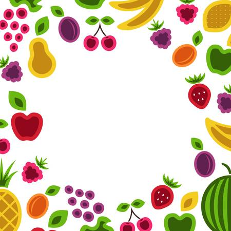 yellow apple: Fruits and berries frame composition illustration