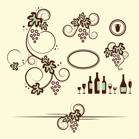 grapevine: Winery design objects set illustration  Illustration