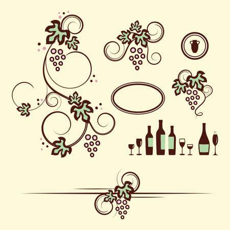 grapevine: Winery design objects set illustration  Illustration