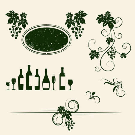 Grape vines, wineglasses and decorative elements set Vector