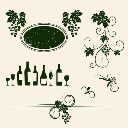 Grape vines, wineglasses and decorative elements set Illustration