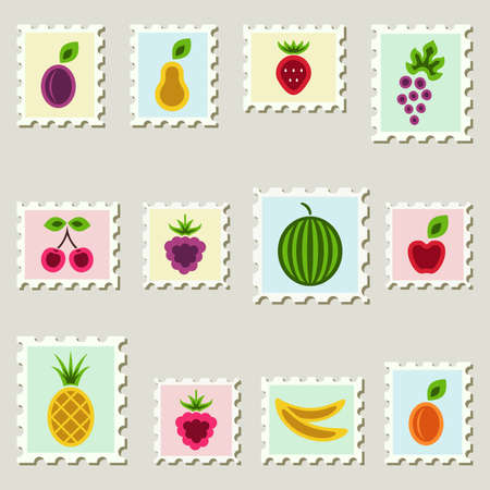 Postal stamps set with fruits and berries. Vector illustration. Vector