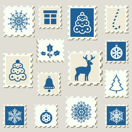 Set of poatel stamps with Christmas decoration symbols  Vector illustration   Vector