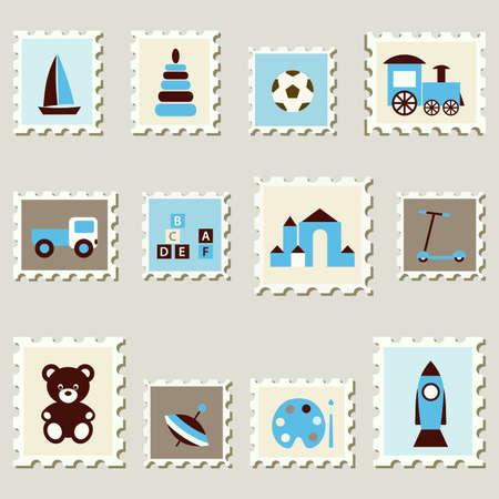 Sellos postales establecido con la ilustración vectorial niños juguetes Ilustración de vector