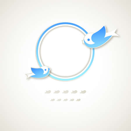 Vintage round frame with flying birds. Stock Vector - 15540395