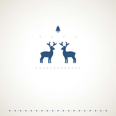 Winter frame background with deers, bell and snowflakes Stock Vector - 15885147