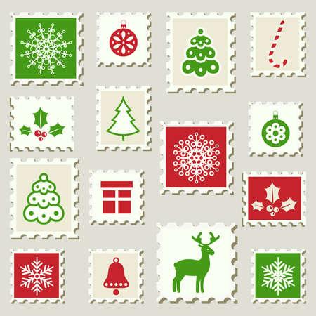 Set of postal stamps with Christmas decoration symbols Vector Illustration